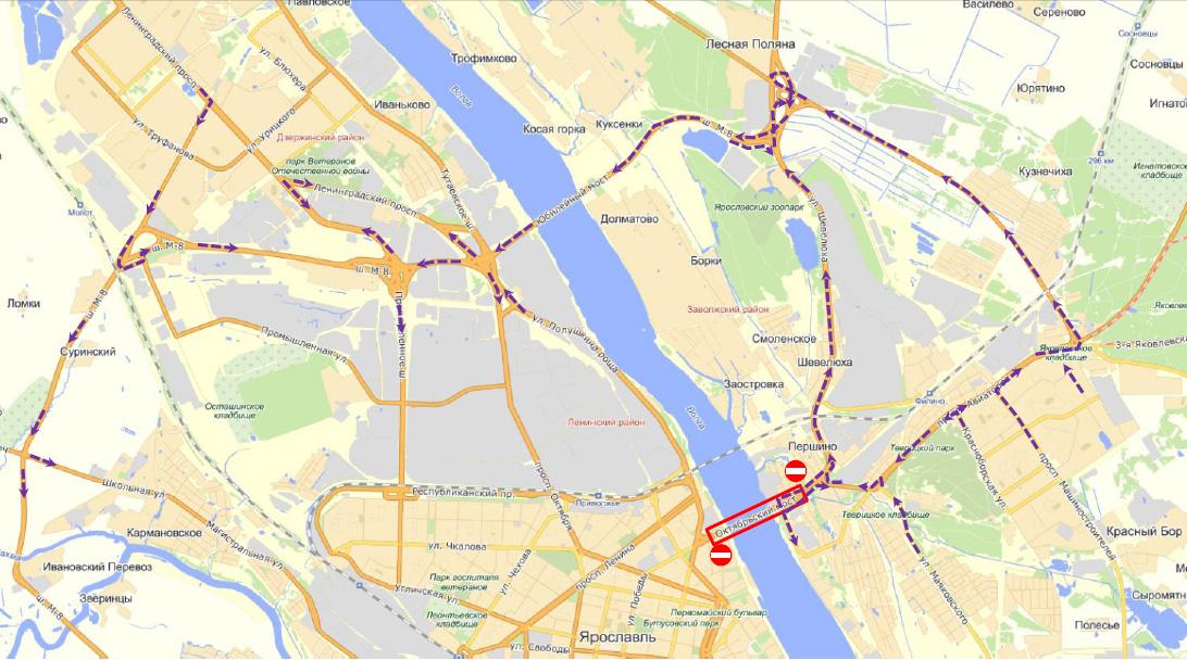 Карта объезда Октябрьского моста в Ярославле - YarNews.net.